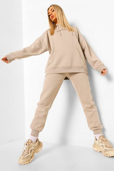 Stone beige Oversized Woman Embroidered Hooded Tracksuit