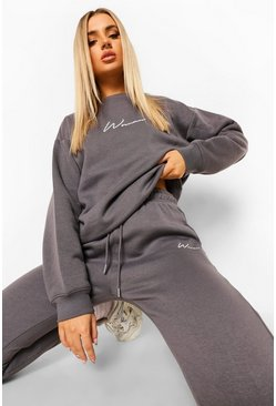 Charcoal grey Woman Embroidered Sweater Tracksuit