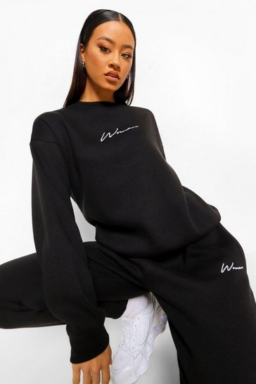 Black Woman Embroidered Sweater Tracksuit
