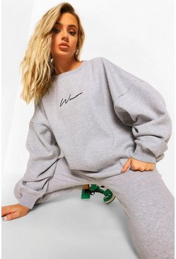 Grey marl grey Oversized Woman Embroidered Sweater Tracksuit