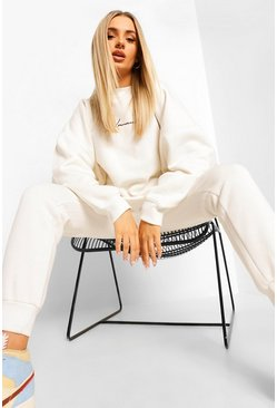 Ecru white Oversized Woman Embroidered Sweater Tracksuit