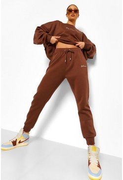 Chocolate brown Oversized Woman Embroidered Sweater Tracksuit