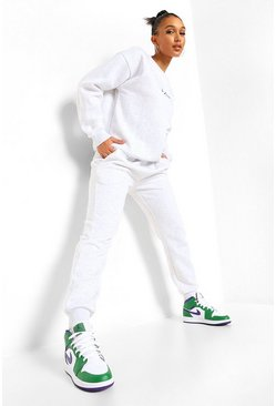Woman Embroidered Sweater Tracksuit, Light grey grau