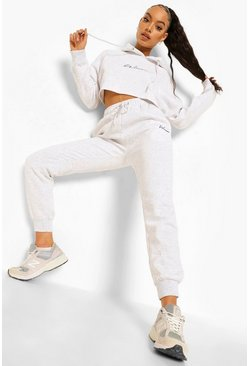 Light grey grey Woman Embroidered Cropped Tracksuit