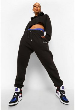 Black Woman Embroidered Cropped Tracksuit