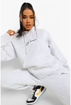 Light grey grey Woman Embroidered Hooded Tracksuit