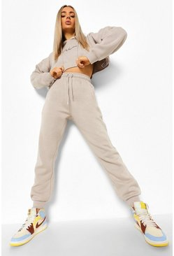 Stone beige Woman Embroidered Cropped Tracksuit