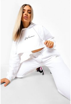 White Woman Embroidered Cropped Tracksuit