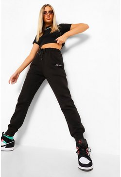 Black Woman Embroidered Regular Joggers