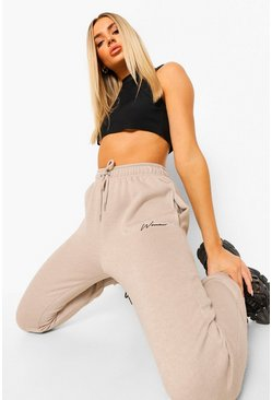 Stone beige Woman Embroidered Regular Joggers