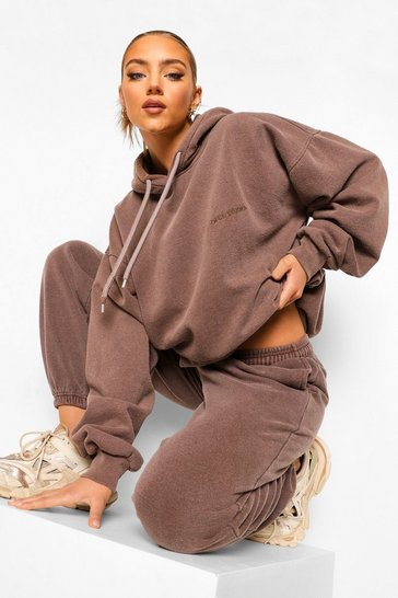 Chocolate brown Ofcl Studio Overdyed Marl Tracksuit