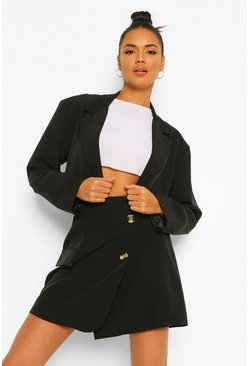 Cropped Blazer & Wrap Mini Skirt Suit Set