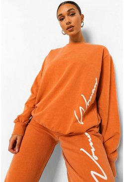 Rust orange Woman Acid Wash Gebleekte Oversized Sweater