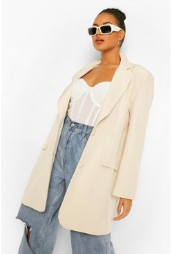 Sand beige Super Oversized Dad Blazer