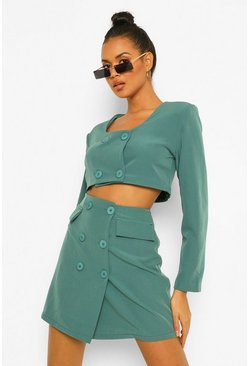 Crop Blazer & Pocket Detail Mini Skirt Suit Set