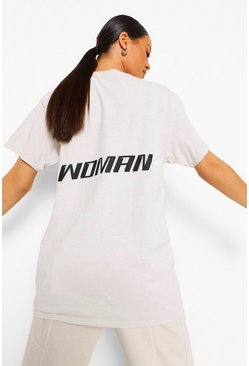 Cream white Woman Back Print Acid Wash Oversized T-shirt