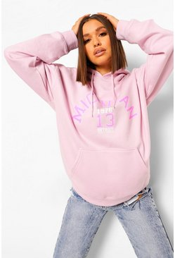 Lilac purple Michigan Slogan Hoodie