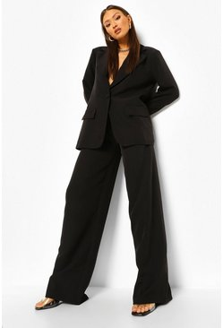 Black Relaxed Paper Bag Waist Wide Leg Pants