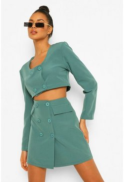 Sage green Button Front Pocket Detail Mini