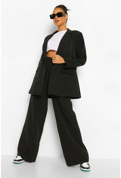 Black Relaxed Wide Leg Trousers