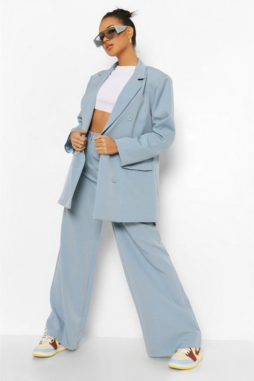 Dusty blue blue Relaxed Wide Leg Trousers