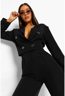 Oversized Crop Blazer & Tailored Trouser Suit Set