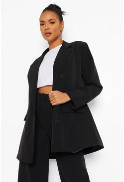 Black Oversized Long Line Dad Blazer
