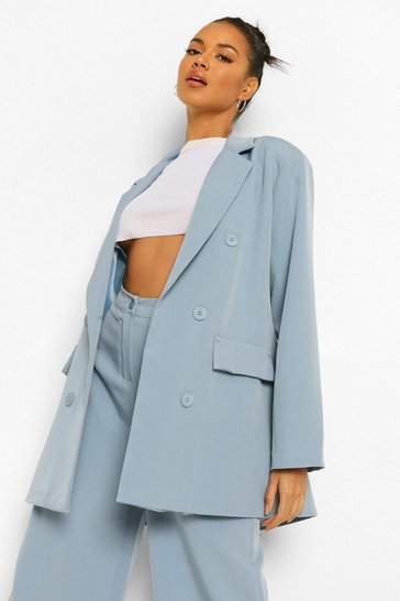 Dusty blue blue Oversized Long Line Dad Blazer