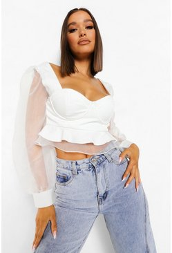 Ivory white Cup Detail Organza Crop Top