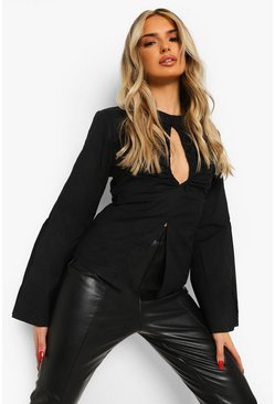 Black Cut Out Split Sleeve Top