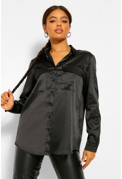 Black Satin Utlility Pocket Detail Shirt