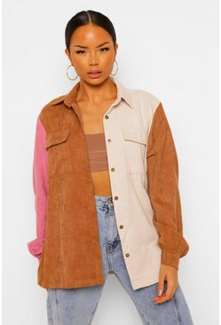 Camel Cord Colour Block Shirt