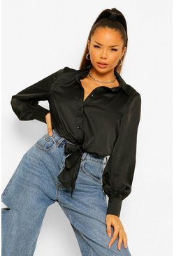 Black Satin Tie Front Shirt Bodysuit