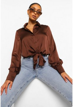 Chocolate brown Satijnen Bodysuit Met Blouse Top Met Strik