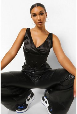 Black Satin Plunge Neck Corset