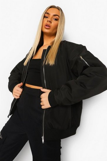Black Oversized Bomber Jacket