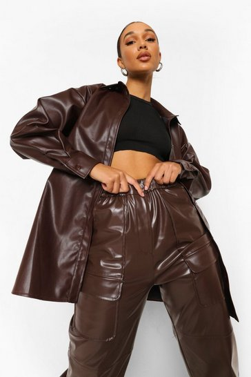 Chocolate Pu Oversized Shirt