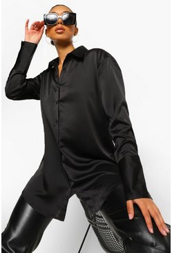 Black Satin Oversized Cuff Shirt