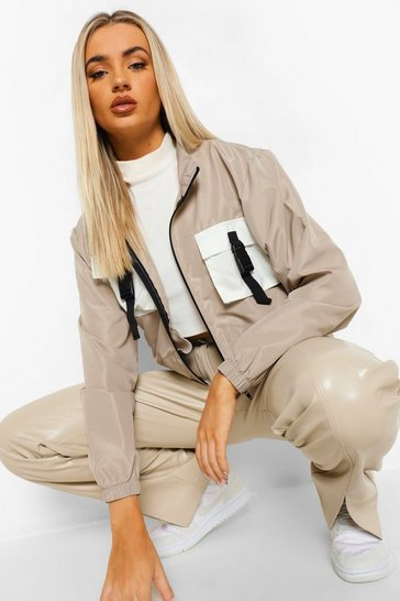 Stone beige Contrast Pocket Belt Detail Crop Windbreaker