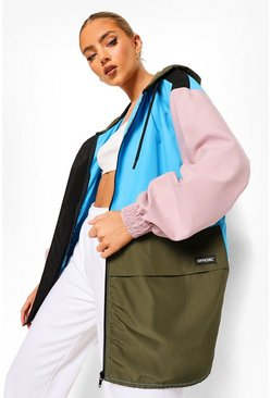 Blue Colourblock Panelled Oversized Windbreaker