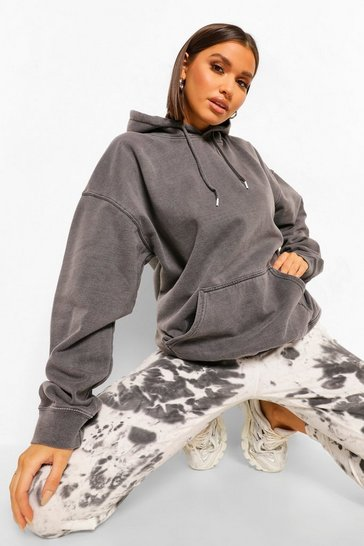 Charcoal grey Oversized Washed Hoodie