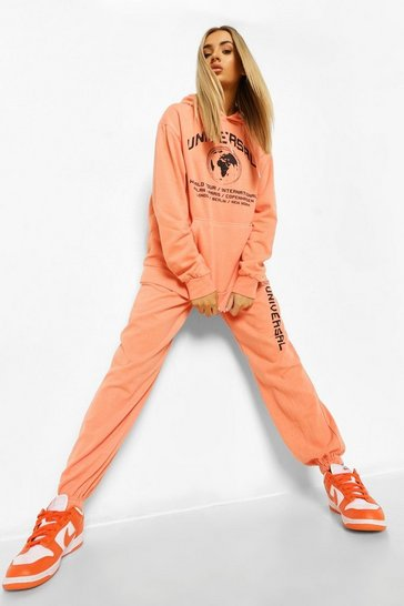 Pale orange orange Universal Acid Wash Slogan Loose Fit Joggers