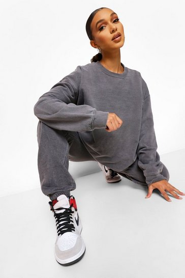 Charcoal grey Oversized Washed Sweatshirt