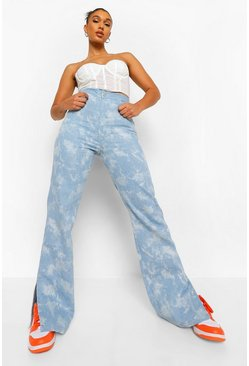 Marble High Rise Split Hem Jean, Light blue blau