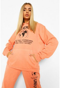 Pale orange orange Universal Acid Wash Slogan Oversized Hoodie