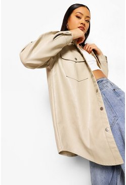 Stone beige Pu Coated Denim Shirt