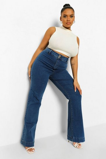 Mid blue blue Plus Basic Fitted Denim Flared Jean
