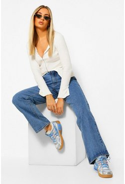 Mid blue blue Rigid Wide Leg Jeans