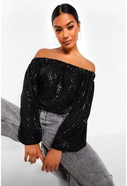 Black Sequin Off The Shoulder Top