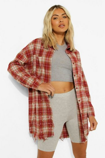 Rust orange Brown Frayed Hem Oversized Check Shirt